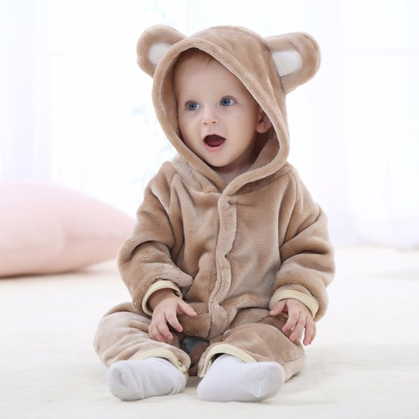Baby Girl Boy Rompers Flannel Cartoon Autumn Winter Bebe Infant baby Clothing Animal Jumpsuit Baby Long Sleeve Hooded rompers