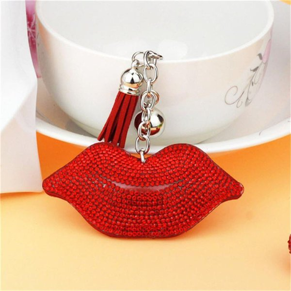Crystal Crystal Lip Keychain Colgante de borla de cuero Regalos de San Valentín Pareja Llavero Llavero Colgante Bolso Colgantes Charms K06