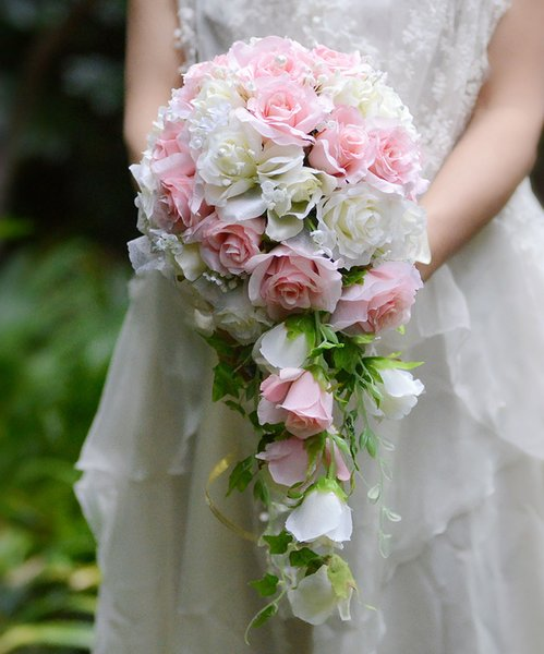 Pink White Waterfall Wedding Flowers Bridal Bouquets Artificial Leaves Rose Wedding Bouquets Bouquet De Mariage Rose 2019