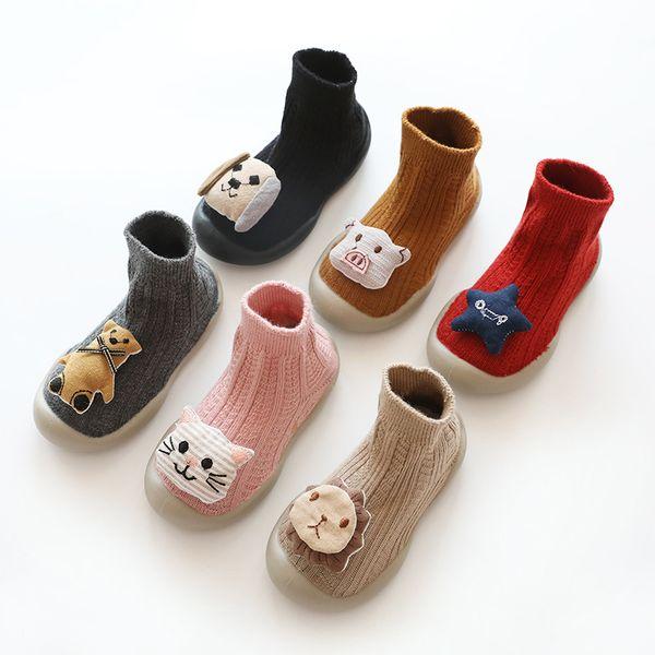 Bebek Karikatür Birinci Yürüteç Bebek Bebek Kat Çorap Yumuşak Tutkal Kat Çorap Çocuk Tasarımcı 3D Hayvan Olmayan Kapalı Prewalker Ayakkabı 06 Kayma