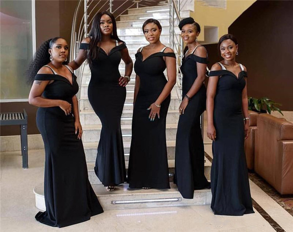 2019 South African Black Bridesmaid Dresses Mermaid Spaghetti Straps Off Shoulder Long Wedding Guest Maid Of Honor Gowns Plus Size