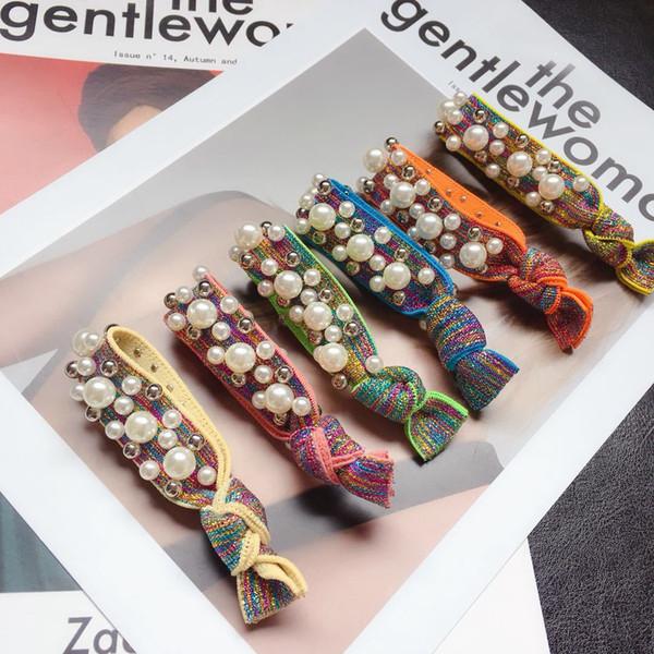 Korean Rainbow Ribbon Elastische Haarbänder für Frauen Haargummi Perlen Niet Verknotet Gummiseil Zubehör Haargummi