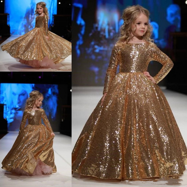 Sparkly Gold Sequins Little Girls Pageant Dresses Ball Gown Puffy Skirt New 2019 Jewel Neck Long Sleeve Toddler Wedding Flower Girl Dress