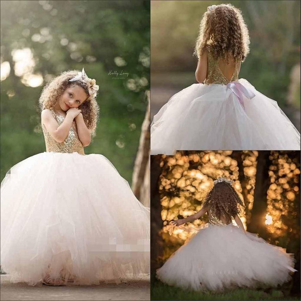 Adorable Girls Pageant Dresses Gold Sequined Top Tulle Ball Gwon Flower Girls Dresses Kids Formal Wear