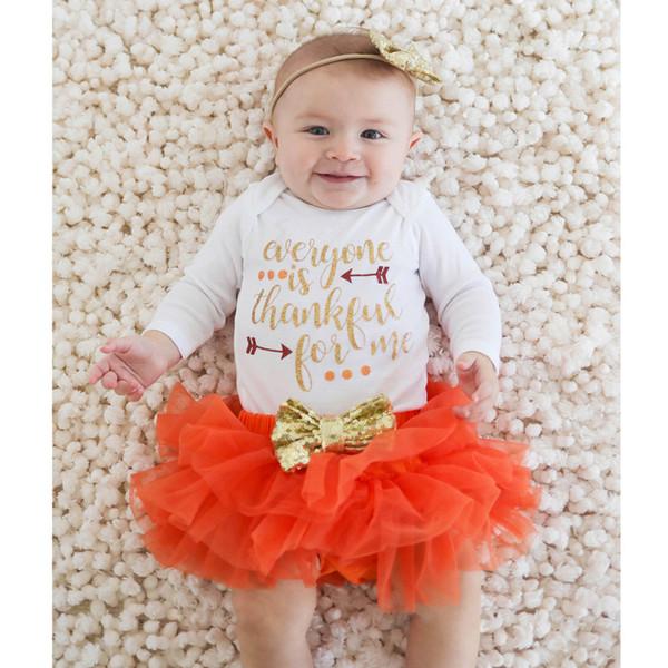 Toddler Infant Baby Girl Letter Thankgiving Romper Tops+Tutu Skirts Outfits Set