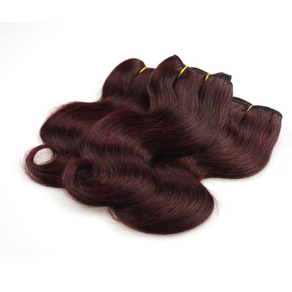 2019 Trendy Bob Kurze Frisur Burgund Brasilianisches Haar Bundles Körperwelle 2 Stücke Burgund Weave 99j Grade 7a Rotwein Menschenhaar