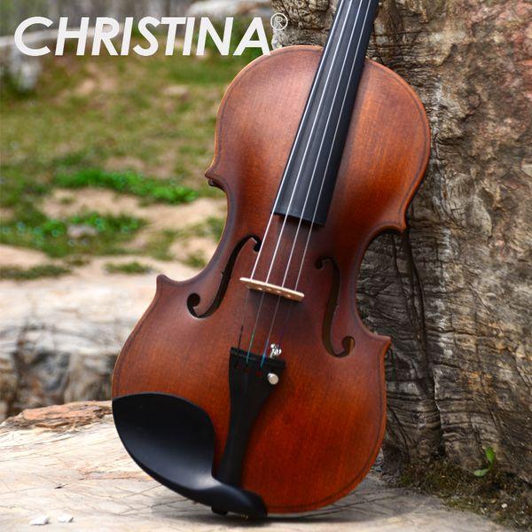 Italy Christina V01 Stradivari Beginner Violin Antique Maple Violin 4/4 Violino 3/4 Handmade Musical Instrument & Case Bow Genuine New