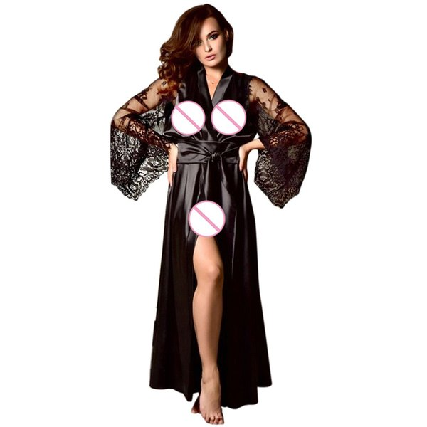 2019 Baoaili Women Satin Long Nightdress Silk Lace Lingerie Nightgown  clubwear Sexy Robe Lace Bathrobe Intimate Ladies C4 ea34287f7