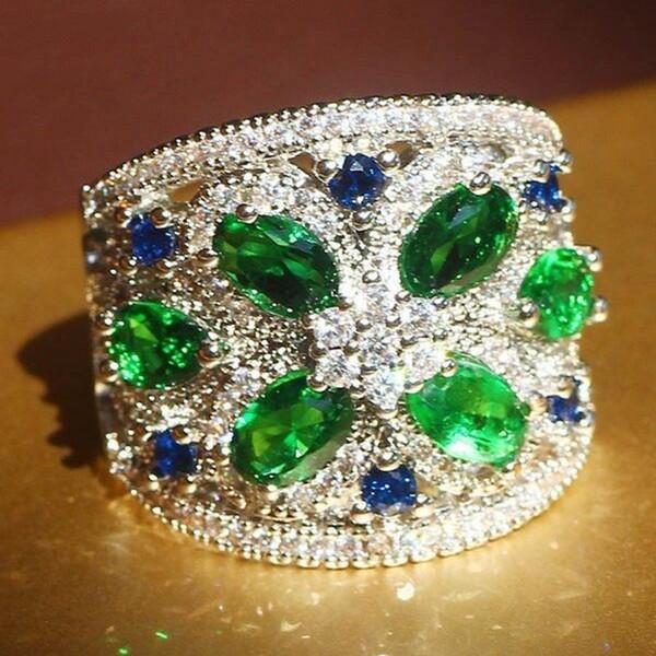 Misura 6-10 gioielli di lusso all'ingrosso in argento sterling 925 5a zirconi cubici pietre preziose donne anello di fidanzamento di nozze per il regalo dell'amante