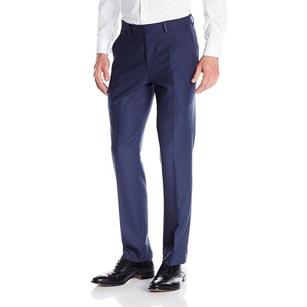 Custom Made Blue Men's Flat-Front Suit Separate Pant Slim Fit Formal Trousers Men Suit Pants Wedding Party Pants