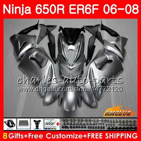 Body For KAWASAKI NINJA 650R ER6 F ER-6F glossy silvery 2006 2007 2008 Cowling 29HC.8 Ninja650R 650 R ER6F 06 08 ER 6F 06 07 08 Fairing Kit