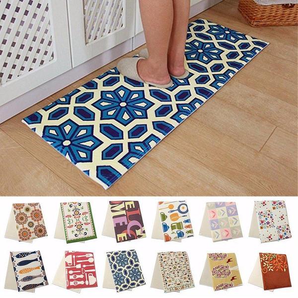 Wholesale-Non-slip Kitchen Home Bedroom Bath Floor Mat 120X45CM Cushion Anti-Fatigue Floral Rug Carpet Bathroom Product