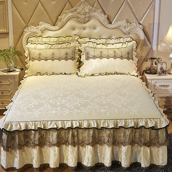 Pink Princess Lace Bedspread Bed Skirt Pillowcase 1/3pcs Velvet Thick Girls Bedclothes Bed Sheet Wedding Bedding Home Decoration YUU5432