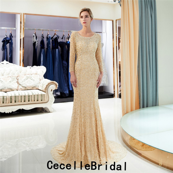 2019 New Gold Mermaid Luxury Long Evening Dress With Long Sleeves Fully Beading Arabic Women Formal Evening Party Dress Couture Custom Made