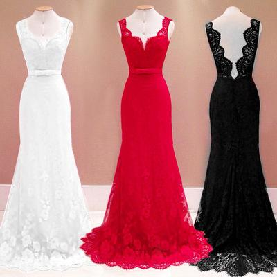 Hot Explosion Sexy Halter Mop Red V-neck Sleeveless Evening Dress/Lace White Prom Dresses/Into the store to choose more styles