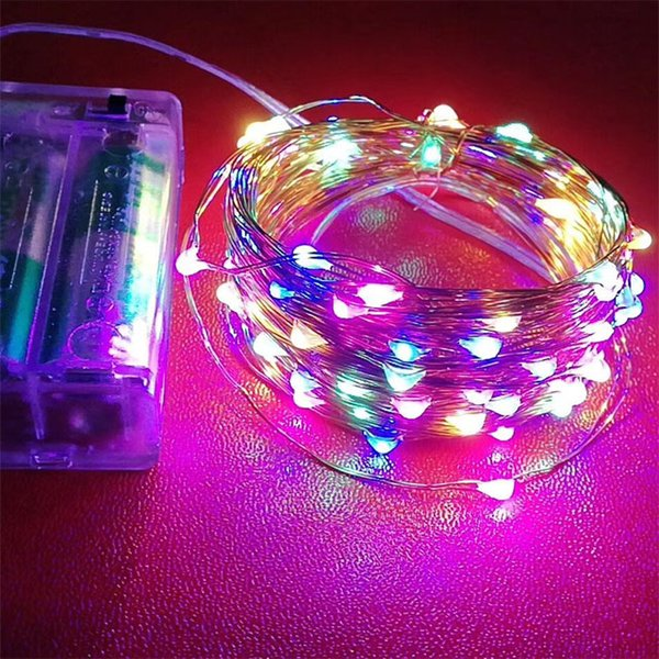 Led Battery Strings Mini Led Copper Wire String Light 3a Battery Operated Fairy Party Wedding Flashing Led Christmas String Light Red String Lights