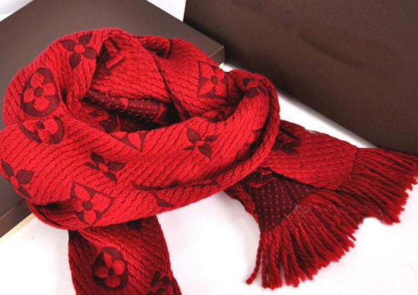 Yüksek Kaliteli Ünlü tasarım Harf Baskı Kaşmir Yün Yün ipliği Eşarp şal M72432 Püskül Long'un eşarplar 160 * 35cm kırmızı sarılmış