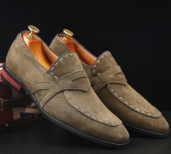 Nuevo 2019 Mocasines negros para hombres Mocasines de lujo sin cordones Zapatos casuales para hombres Zapatos planos de cuero de gamuza para hombres 38-47