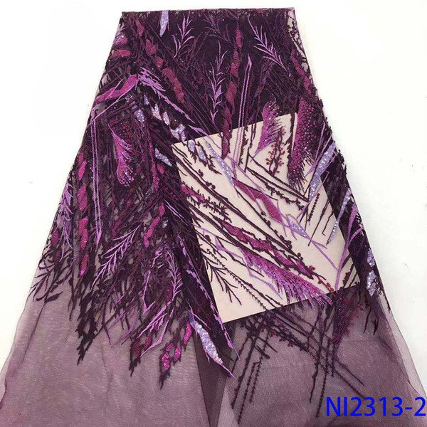 best selling African French Tulle Mesh Lace Purple Color Sequence Lace Fabric for Bridal Material Sequins Fabric Nigeria Net NI2313