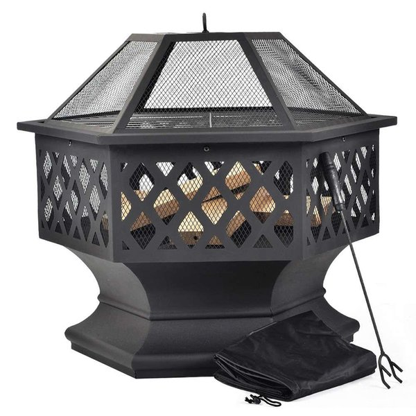 Merax BBQ Fire Pit Hexagon multifunzionale con Spark Protezione Garden metallo Fuoco Basket - Nero