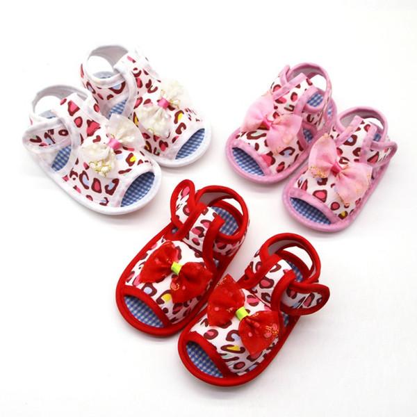 Kinder Baby Mädchen Weiche Sohle Sandalen Schuhe Rutschfeste Leopard Print Sandalen Prewalkers Bowknot Design Erste Wanderer