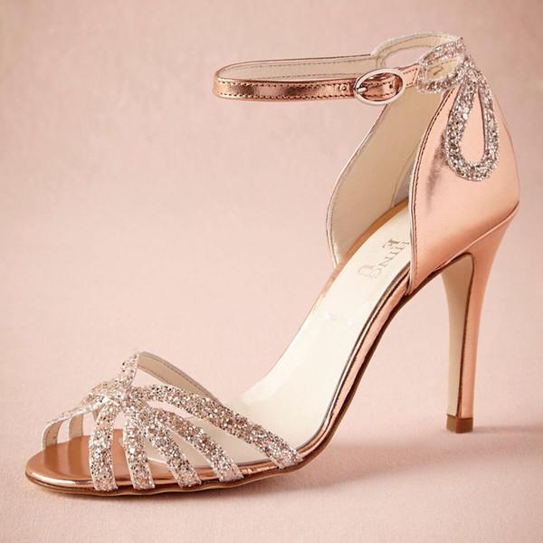 Rose d'or talons pailletés chaussures de mariage réel Escarpins Sandales Or boucle de fermeture en cuir Glitter Party Dance High Wrapped Talons Sandales femmes