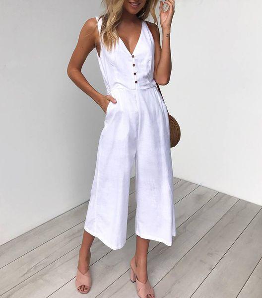Sommer neue frauen overalls sexy v-ausschnitt backless anzüge mit knopf für frauen lose beiläufige große größe capris overalls s-xl
