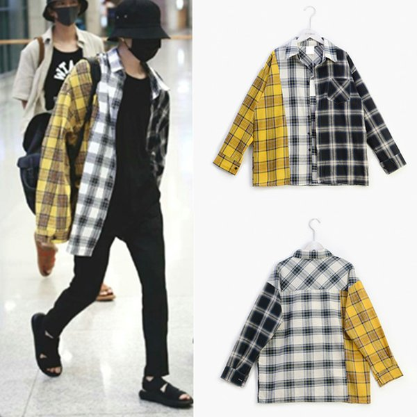 Mens Shirts BTS New Style Color Matching Plaid Shirt Spring and Autumn Mens Clothing Free Shipping