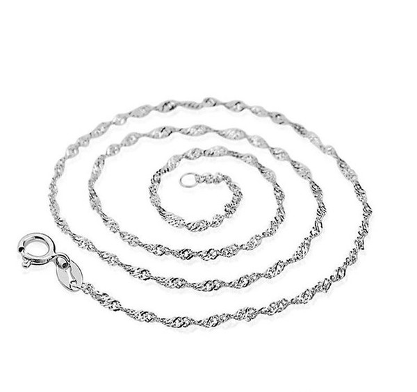 Factory Price 1MM 16inch -18inch Chain Necklace 925 sterling Silver Water wave chain Necklace Jewelry