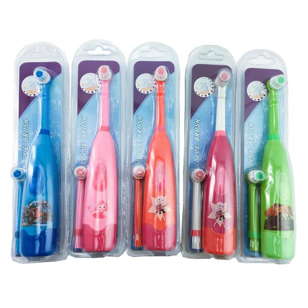 Enfants Brosse à dents électrique Cartoon Motif double face des dents de brosse à dents électrique Brosse pour les enfants avec 2pcs tête de rechange