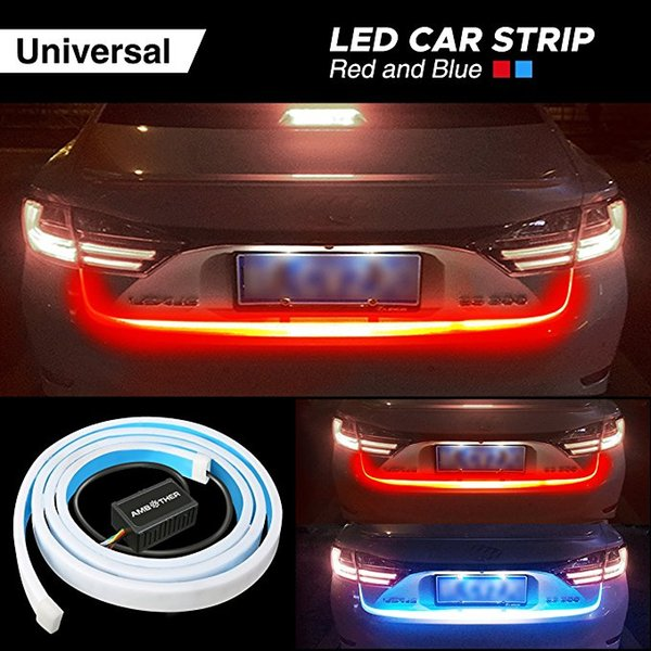 Ice Blue Red Yellow White LED Strip Rear Trunk Tail Light Multicolor Car Brake Turn Signal Flow Reverse Leds DRL Warning Lights
