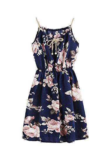 MakeMeChic Women Floral Print Drawstring Sleeveless A-line Cami Dress