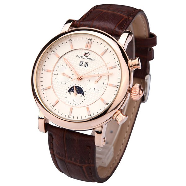 Forsining Moon Phase Skeleton Movement Mens Watches Rose Gold Case Brown Genuine Leather Strap Brand Luxury Auotmatic Watch SLZe154
