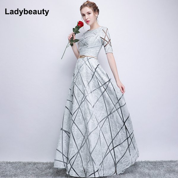 Robe De Soiree Half Sleeves White Long Evening Dresses 2018 Lacing Vintage Lace Top Cheap Prom Dresses Y19072901