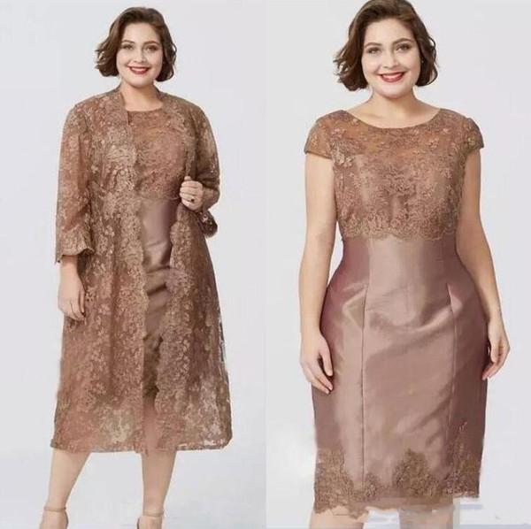 Acheter 2020 Brown Moderne Manches Courtes Gaine De Mère Robes De Dentelle Avec Veste Élégante De Thé Longueur Mère De La Robe De Mariée Custom Made