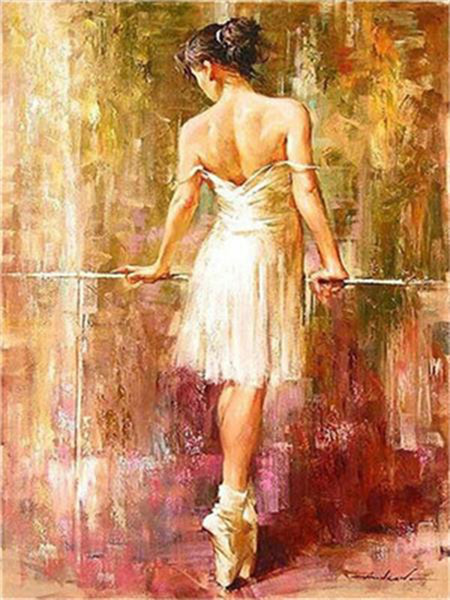 DIY Acrylic Painting by Numbers Kit on Canvas for Adults Beginner Beautiful Back View of Ballerina 16x20 Inch