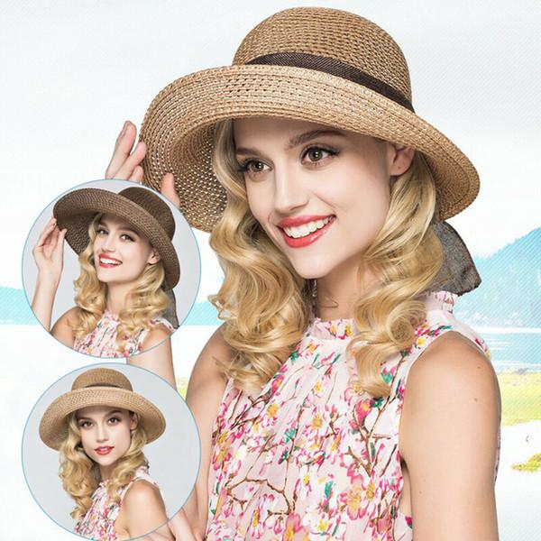 Printemps et été nouveau chapeau d'or de chapeau de paille de tête d'or tressé rétro Dame large avant-toit crème solaire chapeau d'été chapeau