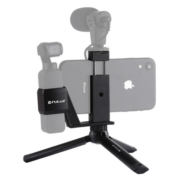 PULUZ Mini-Desktop-Stativhalterung aus Metall + Telefonklemmhalterung aus Metall + Feste Erweiterungshalterung für Pocket DJI OSMO-Kamera-Zubehör