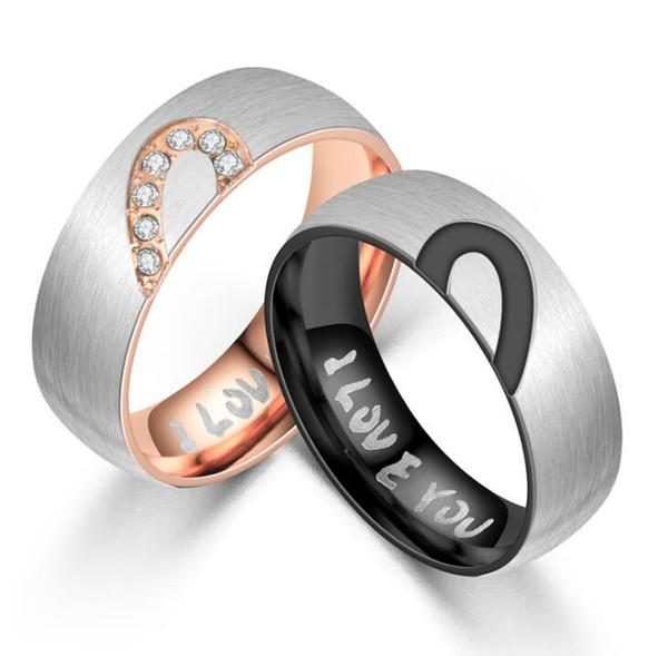 Anneaux assortis de promesse pour des couples je t'aime bandes de mariage ensembles pour lui et son demi-coeur sonne des anneaux d'acier inoxydable