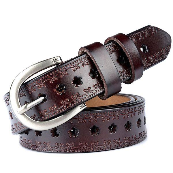 Drop Shipping New Genuine Leather Women Belt for dress cummerbunds Cow Leather Flower Cowskin Strap Female Waist Belt for Jeans