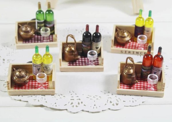 Free shipping 5 pcs hot sale wooden simulation refrigerator glass wine bottle fridge magnets home wedding decoration sticker