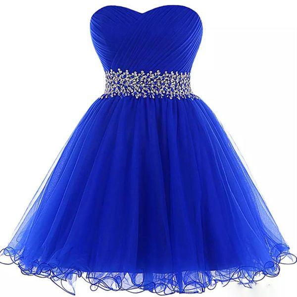 Robes de bal organza de bal de bal royal bleu 2019 élégantes perles robes de bal courtes robe de soirée à lacets