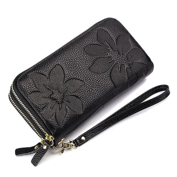good quality Genuine Leather Wallet For Female Floral Embossed Design Double Zipper Women Purse Clutch Purse Ladies Wristlet