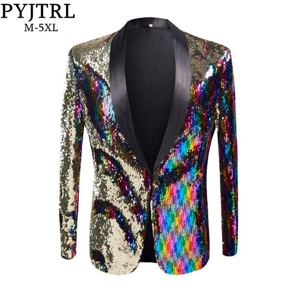 Pyjtrl nuevo para hombre con estilo color oro coloreado doble color de lentejuelas Blazer discoteca Bar escenario cantante traje de novio de la boda traje chaqueta Y190422
