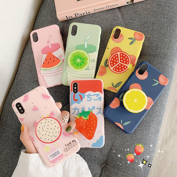 Cell Phone Cases With Holders Fruit Summer Silicone Case Universal Mobile Phone Mounts For iPhone xs max 6s 7 8 xr plus