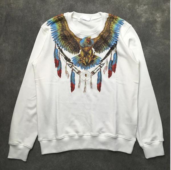 2019 nouveau Marcelo Burlon Eagle collier de plumes imprimer Sweat à capuche mens couleur Ailes imprimer Sweat top Sweats à capuche mode Jumpers Designer sweats à capuche