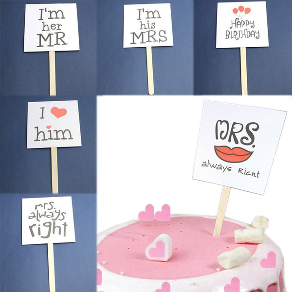 Sale Wedding Dessert Happy Birthday Cake Decorations Topper Square Party Supplies Valentine S Day Creative Ice Cream Stick Customized Cards Customized