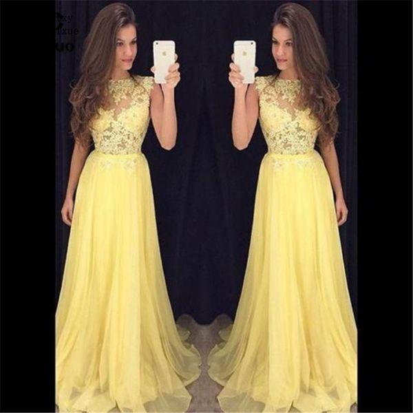 Sexy Sweep 2020 robe de soiree a buon mercato chiffon veste la sera Una linea Illusinon Corpetto Treno giallo promenade di sera del vestito per le donne su ordine