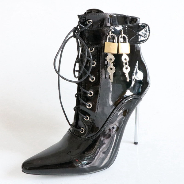 gran selección de bb17f e7c3a Compre Candados Decorativos Botines Para Mujer Tacones Altos De Metal 12cm  Zapatos Puntiagudos Para Dama Diseñadores Para Mujeres Botas Tacones Para  ...