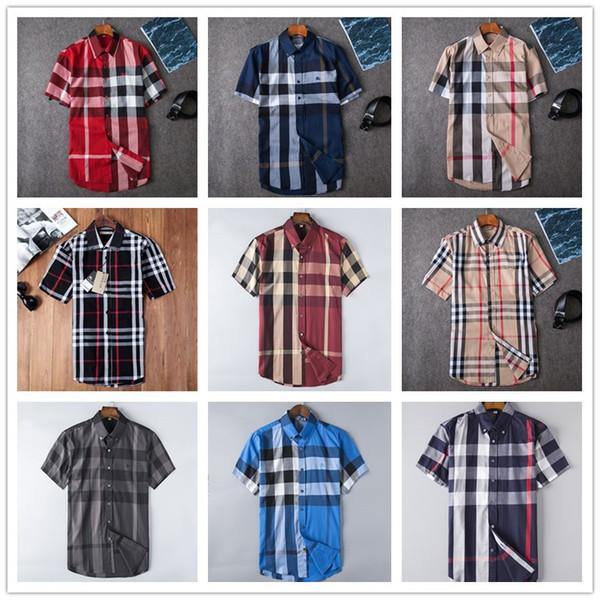 Yaz erkek Kısa Kollu Gömlek SıCAK 2019 Klasik Marka Şerit POLO Moda Rahat Pamuk Ekose Gömlek Ince Iş Yaka Gömlek